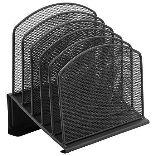 Inclined File Folder Desk Organizer by DESIGNA, 5 Section Office Desktop Document Sorter Stand Up Office Supplies File Organizer | Desk File Holder | Steel Mesh Construction Collection, Black