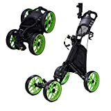 Timechee Golf Push Pull Cart, 4 Wheel Golf Cart for for Golf Bag, Foldable/Collapsible Golf Push Cart with Umbrella Scorecard Drink Holder Golf Pull Cart One Step to Open and Close
