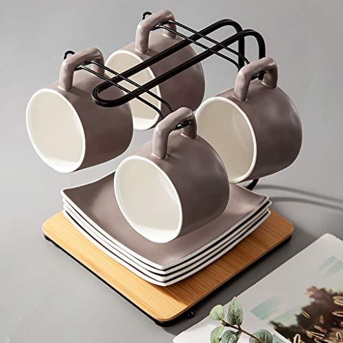 KGDC Juego de café Las Tazas de cerámica, 4 Tazas, 4 platillos, Copas, Tazas, Juegos de té, Platos con Soportes Tazas de Café con Platos