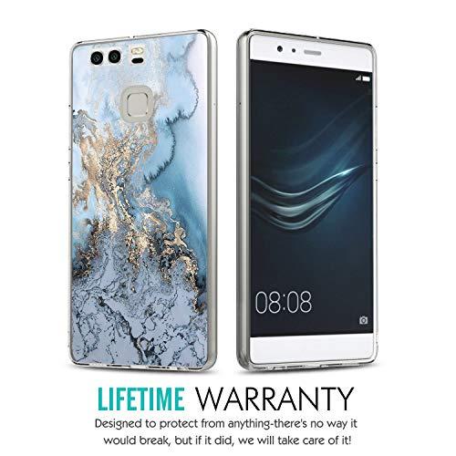 Huawei P9 Hülle, 14chvily Schutzhülle Huawei P9 Plus Handyhülle Soft Marmor Cover Rückschale Blume Flüssigkristall Silicone Schutz Shockproof Handytasche für Huawei P9 Plus - Ultra dünn (4.0, P9) - 3
