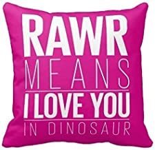Jidmerrnm Rawr Means I Love You in Dinosaur Throw Pillow Case Decor Cushion Covers Square 1818 inch