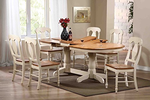 Iconic Furniture 7-Piece Dining Set, Antiqued Caramel Biscotti, 90""