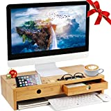 Herdzi Monitor Stand Riser with Drawers, Desktop ,Laptop Stand Riser with Keyboard Storage Space for Home & Office Use
