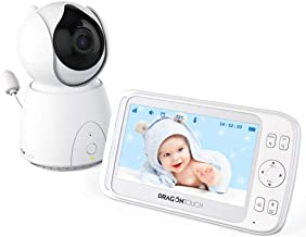 Dragon Touch DT50 5 Inch Wireless Digital Video Baby Monitor, Auto-Motion Tracking Baby Camera, Pan & Tilt, Two-Way Audio, Lullaby, Night Vision, Audio Only Mode and Temperature Monitoring Capability