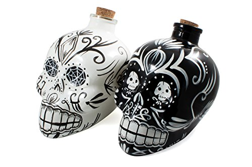 Bar Amigos® DOUBLE PACK Black & White Noir blanc - Mexican Painted Candy Skulls Sugar Art Shaped Themed Glass Top Decanter Carafe & Cork stopper can be used for wines and spirits and more - Inspired by the Mexician Day of the Dead holiday Festival