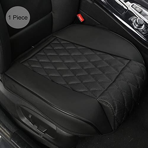 Black Panther PU Leder Sitzbezug Auto Vordersitz Autositzauflag mit Beinstütze, nur für Bodensitz ohne Rückenlehne (1 Stück, Schwarz)