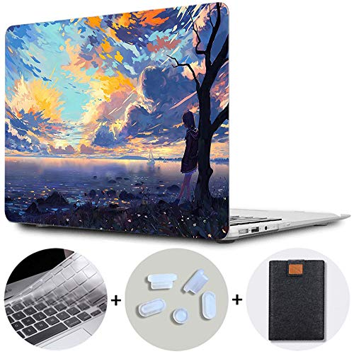 MAITTAO MacBook Pro 13 inch Case 2020/2019/2018/2017/2016 Release A2289/A2251/A2159/A1989/A1706/A1708 with/without Touch Bar Plastic Hard Shell & Laptop Sleeve & Keyboard Cover 4 in 1 Bundle,Girl 3