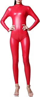 Women's High Neck Synthetic Latex Jumpsuit Full Body Catsuit