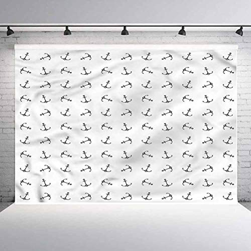 8x8FT Vinyl Photo Backdrops,Anchor,Nautical Silhouettes Background Newborn Birthday Party Banner Photo Shoot Booth