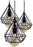 Lámpara de Techo Vintage 3L Cage Retro Iluminación E27 Capacidad AC220-240 V para Comedor,...