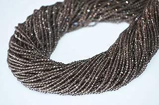 Jewel Beads Natural Beautiful jewellery 2 Strands of AAA Quality Natural Smokey Quartz Rondelle Faceted 2.20 mm, Diamond Cut Genuine Smokey Quartz Beads Strand 13 inches LongCode:- JBB-19893