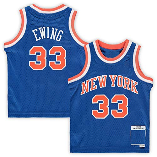 DDDE Outdoor Gilet da basket Uniforme Patrick New York NO.33 Knicks Ewing Infant Retired Player Jersey Traspirante Sport a Maniche Corte Per Bambini - Blu