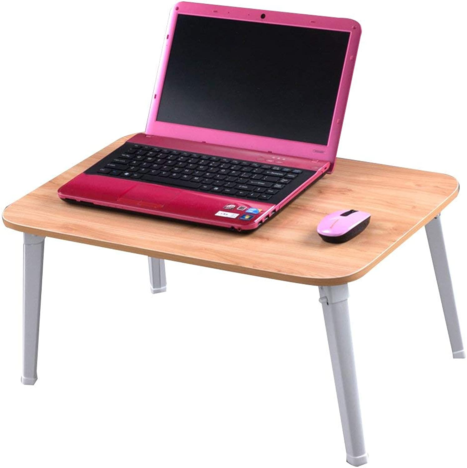 LiTing-Folding Table Computer Desk Bed with Notebook Desk Foldable Home Simple College Dormitory Lazy Small Desk (Size  60x40x29cm)