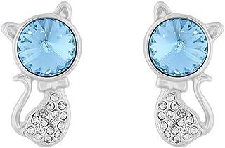 Fashion Crystals - Arete con Cristales Auténticos para Mujer - Arete Gato Fantasía - Baño de Oro, Oro Rosado y/o Rodio-Est...