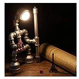 WLP-WF Lámpara de Mesa Estilo Industrial Creativo Dormitorio Retro Bar Mesita de Noche Decoración de Escritorio Personalidad de Lectura Fontanería Robot Mesa de Regalo (Color: Bronce),Bronce