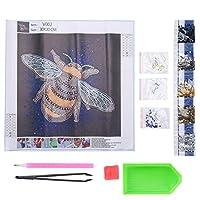 ダイヤモンド絵画セットクリスタルDIY工芸品芸術蜂パターン刺繡壁装飾30x30cm高解像度、カラー印刷、正確なパターン