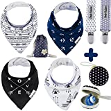 BabyBandana DroolBibs by Dodo Babies + 2 Pacifier Clips + Pacifier Case in a Gift Bag, Pack of 4 Premium Quality for Boys or Girls, Excellent Baby Shower/Registry Gift