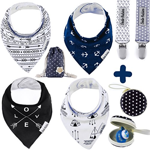 BabyBandana DroolBibs by Dodo Babies + 2 Pacifier Clips + Pacifier Case in a Gift Bag, Pack of 4 Premium Quality For Boys or Girls , Excellent Baby Shower / Registry Gift