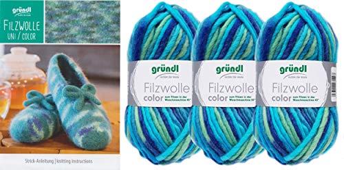 3x50 Gramm Gründl Filzwolle Color Wolle SB-Pack Wollset inkl. Anleitung für gestreifte Filzhausschuhe mit 2 Strasssteine zum aufnähen (38 Türkis Mix)