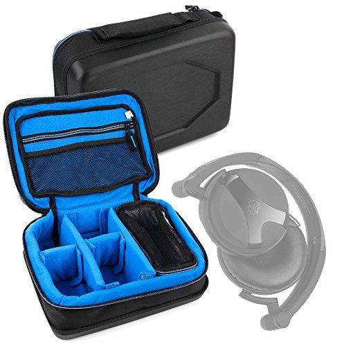 DURAGADGET Bolsa Acolchada Profesional Negra con Compartimentos para Auriculares AKG K518, K712...