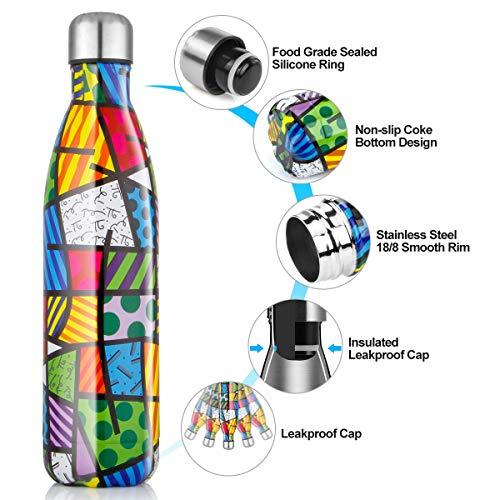 Bottiglia Acqua in Acciaio Inox - 350/500/750ml, Borraccia Termica Isolamento Sottovuoto a Doppia Parete per 24 Ore Freddo & 12 Caldo, Senza BPA, Borracce per Bambin, All'aperto, Palestra, Scuola