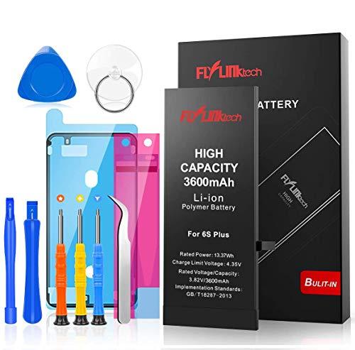 Akku für iPhone 6S Plus mit Hoher Kapazität, 3600mAh Ersatzakku für iPhone 6S Plus Li-Ion Interner Batterie, Reparaturset mit Anleitung & Ersatz Klebestreifen Set, Funktioniert mit alle original APN
