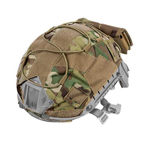 OneTigris Multicam Helmet Cover KB05 with Removable Rear Pouch for Ops-Core PJ Helmet in Size M/L (Multicam)