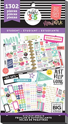 me & my BIG ideas Sticker Value Pack for Classic Planner - The Happy Planner Scrapbooking Supplies - Student Theme - Multi-Color - Great for Projects & Albums - 30 Sheets, 1302 Stickers Total