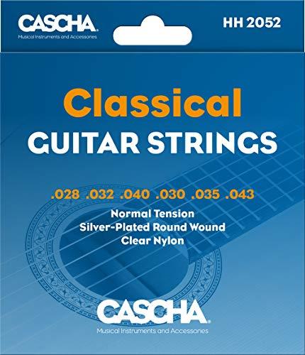Cascha Premium Gitarren-Saiten-Set I Nylon-Saiten für Klassik- & Konzert-Gitarren I sehr gute Klang-Qualität & hohe Lebensdauer I hochwertiges 6-Saiten-Set I Classical Nylon Guitar Strings 6 Stück