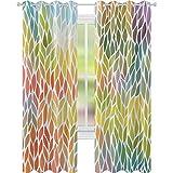 cortinas de ventana, Funky Floral Patrón en los Colores de Todas las Estaciones Refrescante Ambiente Ecología, W52 x L72 Cortinas opacas para dormitorio, Multicolor