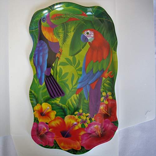 Bandejas Decorativas Platon Aperitivos con imagen de papagayos – pájaros - aves Melamina