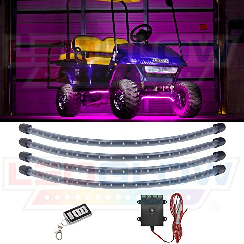 LEDGlow 4pc Pink LED Golf Cart Underbody Underglow Accent Neon Light Kit for EZGO Yamaha Club Car - Water Resistant Flexible Tubes - Includes Control Box & Wireless Remote