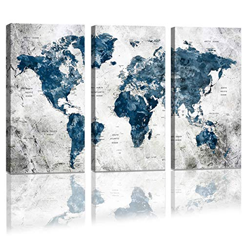 Framed Wall Art Map of the world Watercolor Abstract World Map Wall Decal Large Office Canvas Wall Art Painting for Bedroom Wall Decoration for Living Room 3 piece Blue Artwork for Walls 16x32inch