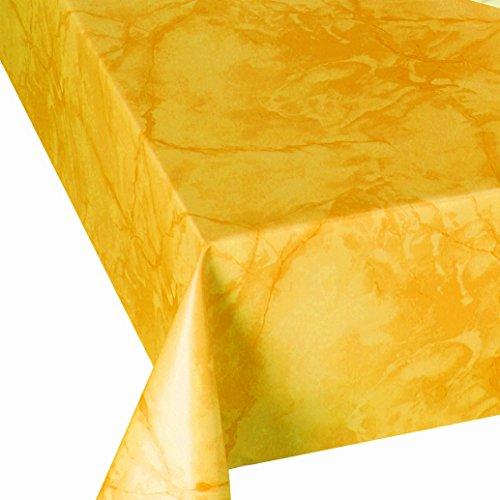 DecoHomeTextil Wachstuch Wachstischdecke Tischdecke Breite und Länge wählbar abwaschbare Gartentischdecke Lack Marmor Gelb 120 x 160 cm Eckig