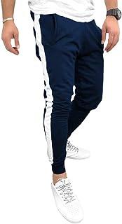 Yying Hombre Raya Pantalones Deportivos Cintura Elásticos Cordón Pantalones de Chándal Skinny Pantalone Casuales con Bolsi...