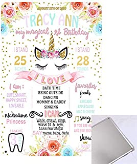 Qian Unicorn Theme Chalkboard Style Tin Sign Kids First Birthday Wall Decoration Reusable Easy Clean Metal Signs 8'' x 12''- Customizable with Liquid Chalk Markers