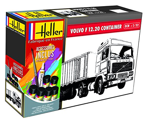 Heller Maquette camion : Kit : Volvo F12-20 Globe Trotter & Container semi Trailer
