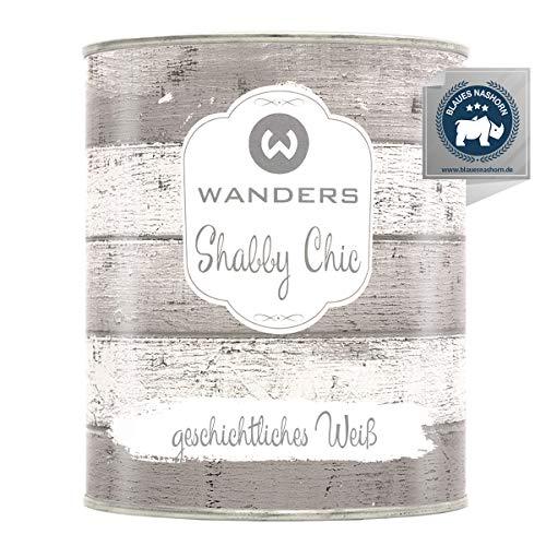 Wanders24® Kreidefarbe (750 ml, geschichtliches Weiß) Holzfarbe für Shabby Chic Look - Möbelfarbe einfach zu verarbeiten - Möbellack auf Wasserbasis - Made in Germany
