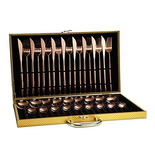 Juego de Cubiertos Modernos, 36 Piezas, Incluye Inoxidable Utensilios Cuchillo/Tenedor/Cuchara/Cucharilla, Apto para 9 Personas,Apto para Lavavajillas (Rose Gold)