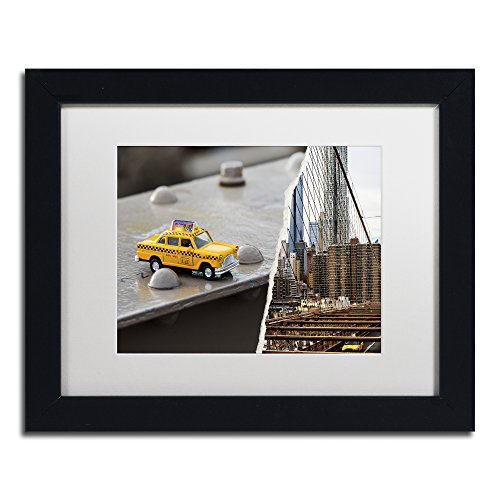 "NYC Taxi by Philippe Hugonnard Artwork, 11 by 14"", White Matte/Black Frame"