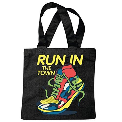 sac à bandoulière RUN IN THE SHOES TOWN LIFESTYLE FASHION STREETWEAR HIPHOP SALSA LEGENDARY Sac école Turnbeutel en noir
