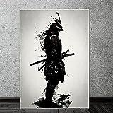 Cuadros decorativos Carteles e impresiones de Anime Samurai blindados japoneses en blanco y negro li...