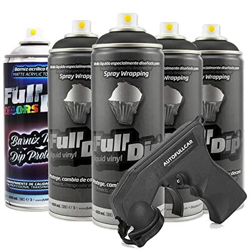 AutoFullCar Pack 4 Sprays Full Dip Negro con Proteccion Mate