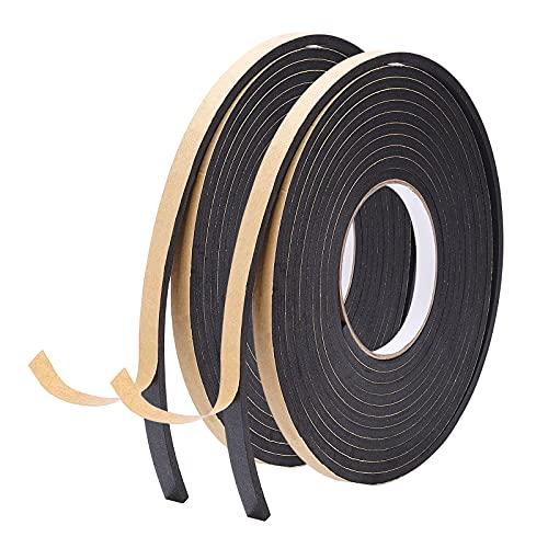 SUPERFINDINGS Cinta Adhesiva de Espuma para Quitar la Intemperie de 10 x 5 mm, Color Negro, Cinta de Goma de Espuma EVA de Fuerte adherencia para Puertas y Ventanas, 5 m/Rollo