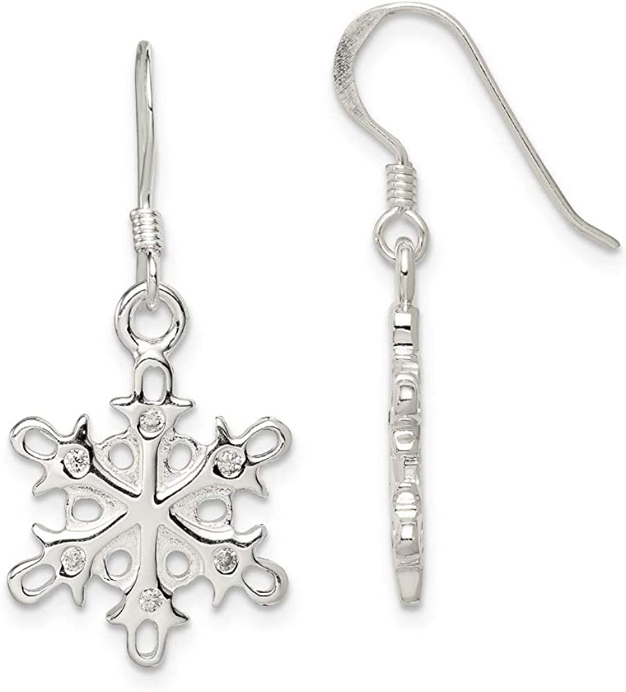 discount Sterling Silver Polished Satin Dangle Department store Earrings Snowflake Cz