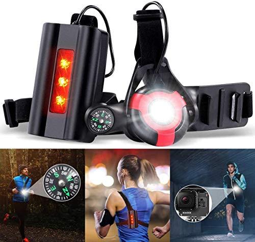 Running Light Ricaricabile USB, SGODDE Luce Corsa 3 Modi 500 LM Impermeabile con Bussola per GoPro, Leggero, Comodo e Perfetto Lampada Corsa per Jogging, Camminare, Campeggio, Ciclismo (Rosso)