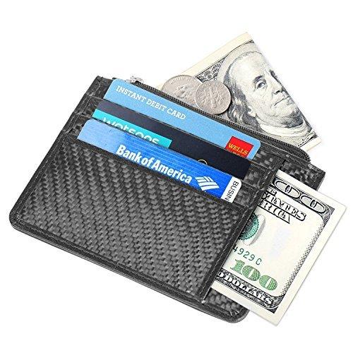 Lackingone Portafoglio Uomo di Classe in Fibra di Carbonio Genuina con Protezione RFID/NFC10 Tasche per Carte di Credito e Portamonete Classico e Sottile Minimalista