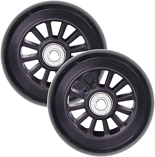 VOKUL 2pcs 100mm Replacement Pro Scooter Wheels with ABEC-9 Bearing, Complete 2pcs (Black+S2)