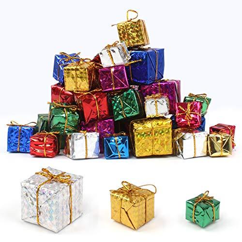 Dadabig 60 Mini Geschenkboxen Weihnachtsbaumschmuck Anhänger Dekoration Klein Geschenkpäckchen Ornamente Christbaumschmuck Weihnachten Dekoration Tannenbaum Schmuck Zufällige Farbe (4cm/ 3cm/ 2,5cm)