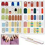 OYCOLOR 8 Sheets Adhesive Nail Art Polish Stickers With 1Pc Nail File + Wood Cuticle Stick Flower Cartoon Nail Wraps Decals Manicure Salon For Women